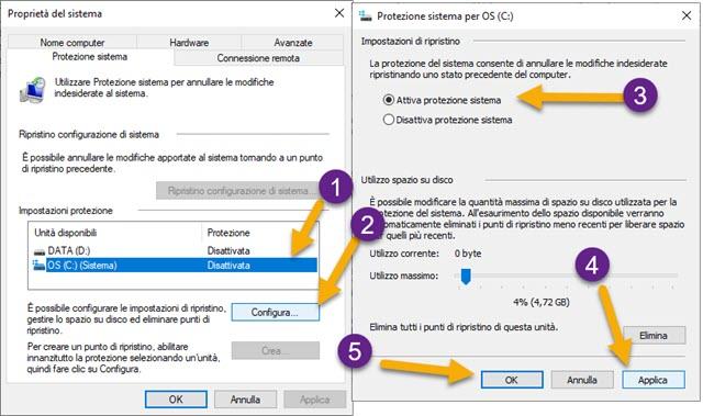 configurare la protezione di sistema in windows 10