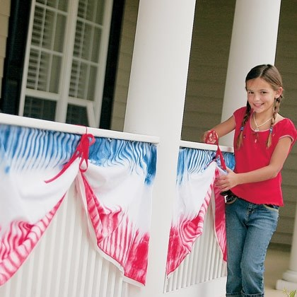 Tie-dyed Fourth of July Bunting