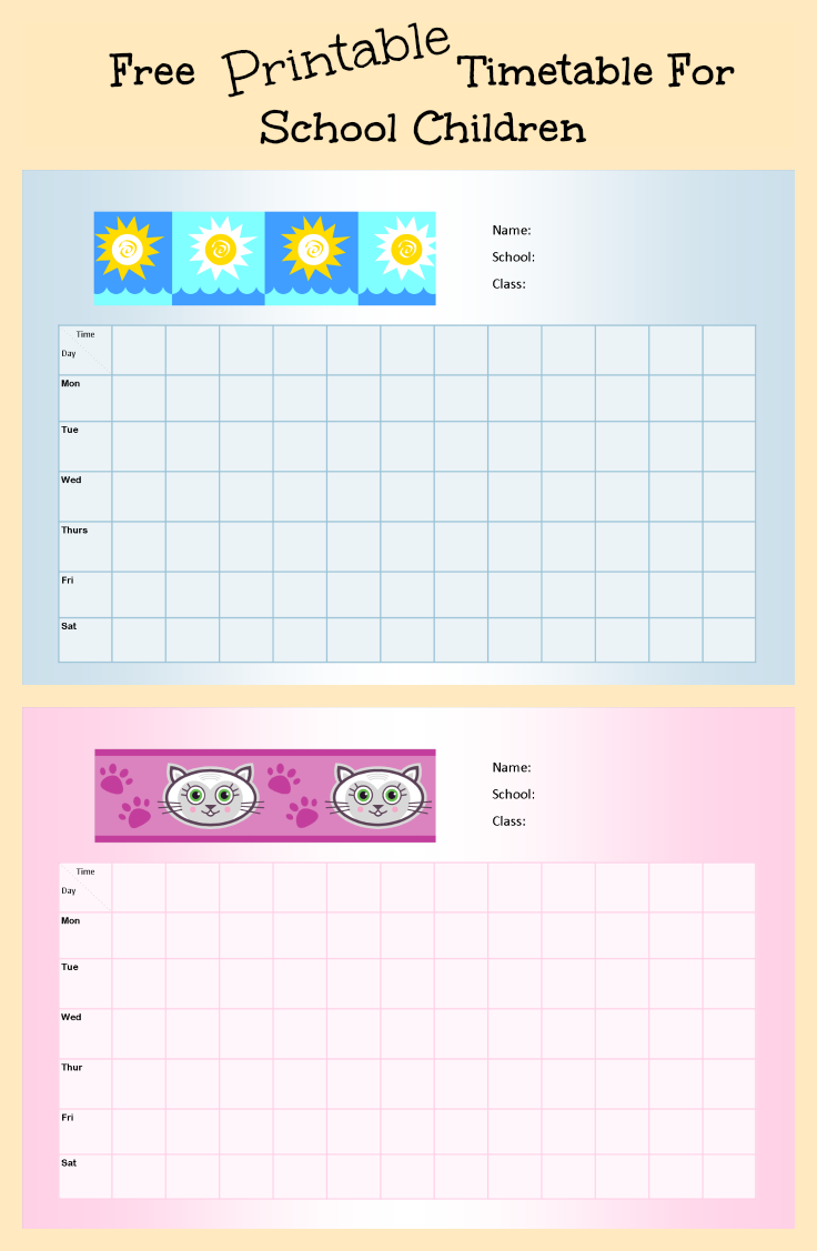 Free Printable School Timetable For Kids ~ Parenting Times