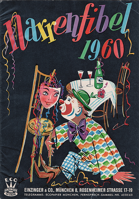 Cover art, illustration featuring romantic clown kissing a mask hanging from chair.