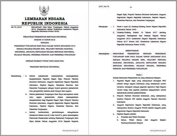Peraturan Pemerintah PP Nomor 19 Tahun 2018 Tentang Pemberian Tunjangan Hari Raya dalam Tahun Anggaran 2018 kepada PNS, TNI, POLRI, Pejabat Negara, Penerima Pensiun, dan Penerima Tunjangan