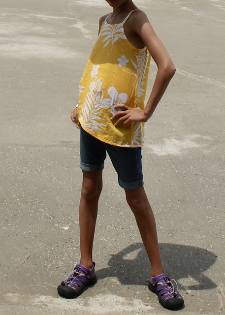 Child's yellow voile camisole made from the Oliver+S Pinwheel Tunic + Slip Dress sewing pattern.