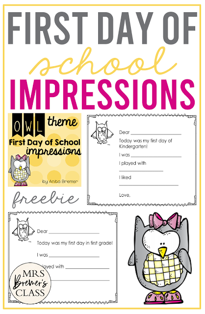 FREE First Day of School Impressions activity for primary students