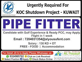 Pipe Fitter for KOC Shutdown in Kuwait