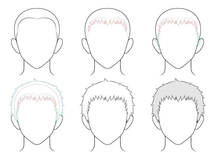 Anime gambar rambut pria pendek selangkah demi selangkah