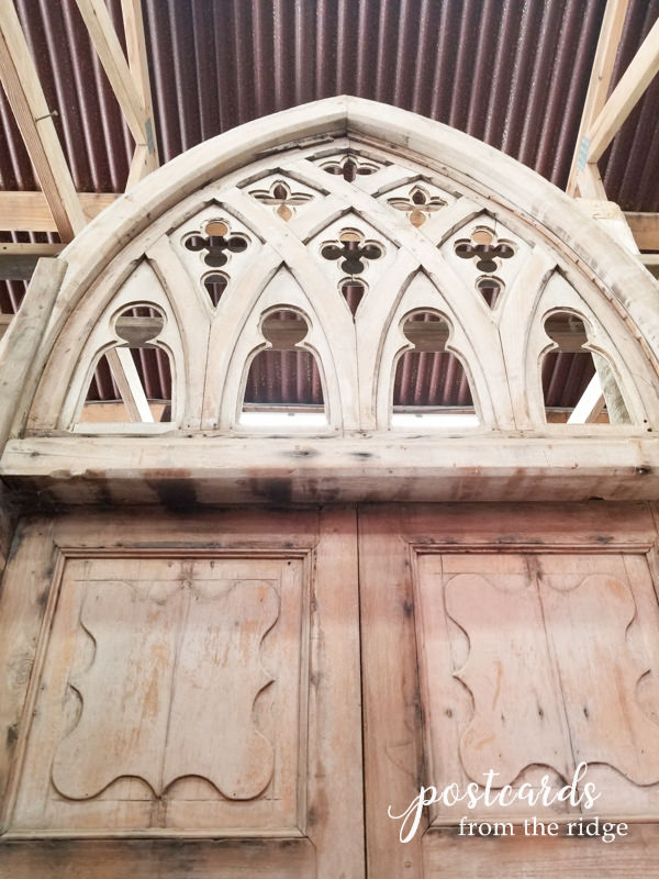 carved wooden salvaged cathedral window