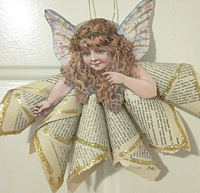 Angel ornament from book pages