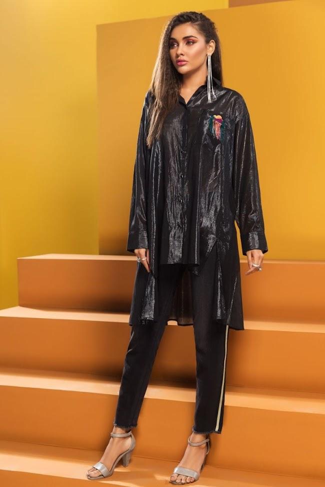 Nishatlinen Fusion Lawn Black Shirt