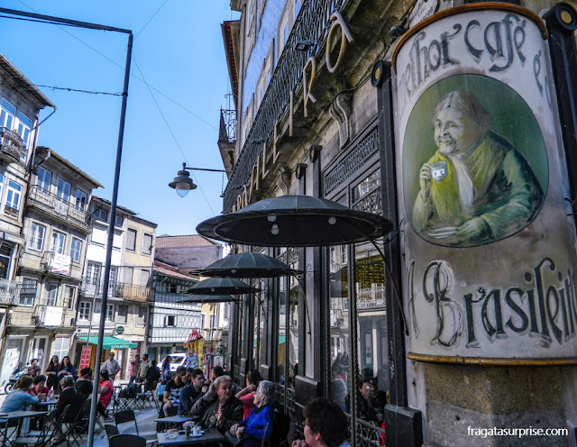 O histórico Café A Brasileira em Braga, Portugal