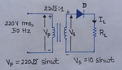 Half-Wave Rectifier - circuit diagram - Ripple factor - Form ... on