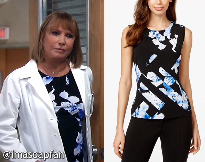 Monica Quartermaine, Leslie Charleson, Sleeveless Black and Blue Floral Top, General Hospital, GH