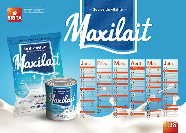 création calendrier plateau Maxilait 2018, recto