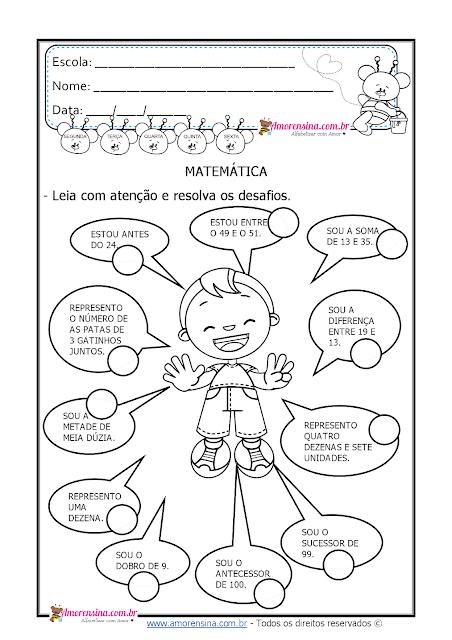 Atividades de matemática 3º ano, atividades para o 3º ano, Desafios para o 3º ano