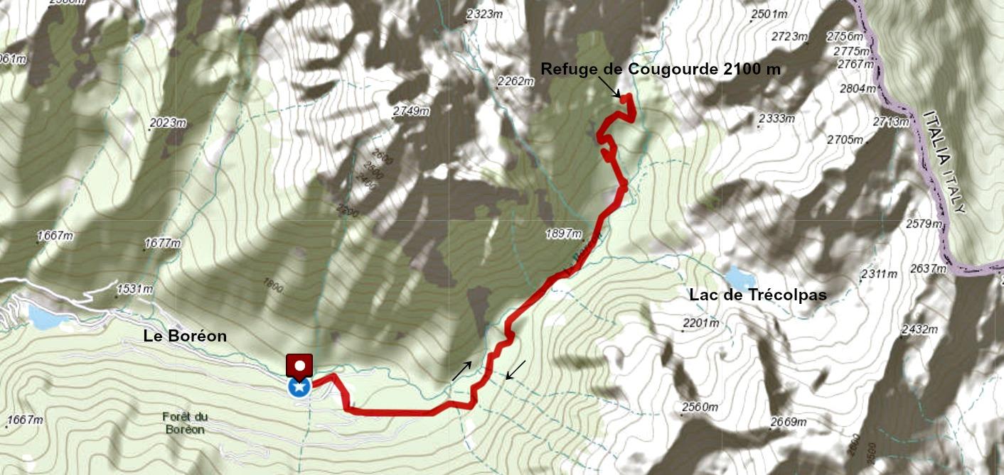 Cougourde refuge trail track