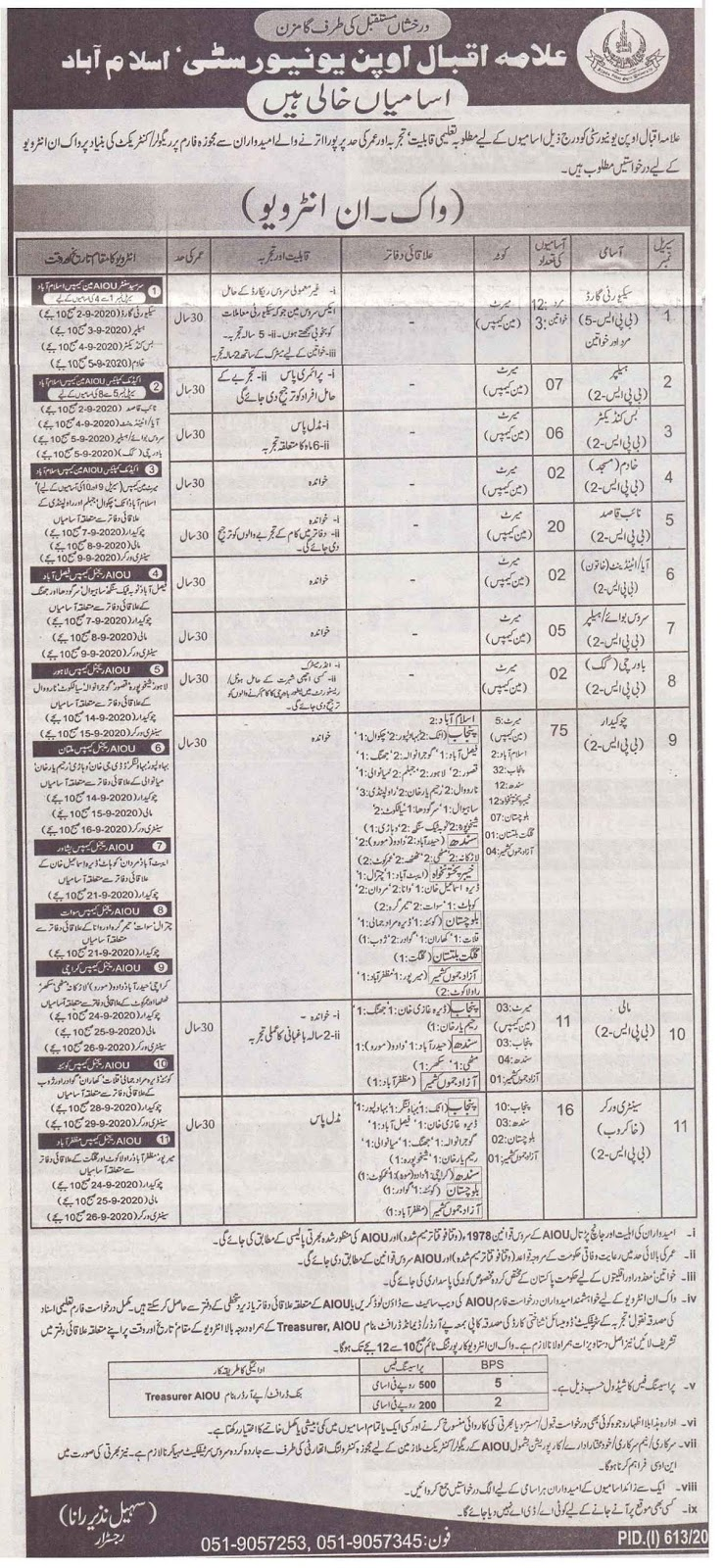 Walk-In Interview for Allama Iqbal Open University AIOU Jobs 2020