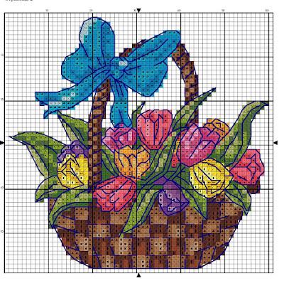 Ricamo a punto croce tulipani e mazzi di fiori-Fiore punto croce schema free-Piccoli Fiori A Punto Croce-Schemi punto croce fiori
