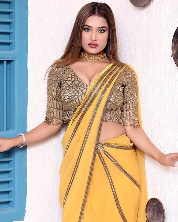 Monika Choudhary flaunts ample cleavage and looks stunning in this saree