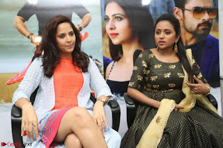 Actress Suma in Black Salwar Suit and Anusuya in orange Dress at winner movie press meet part 2 February 2017 (15).JPG