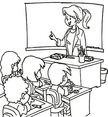 Tranh tô màu cô giáo giảng bài