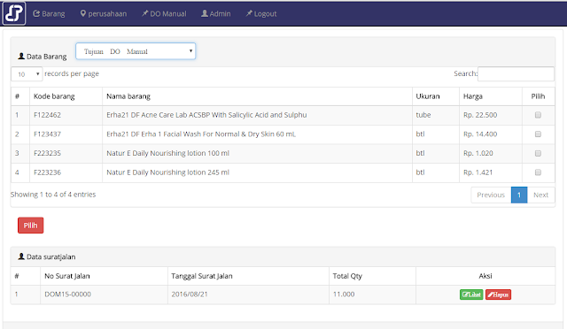 Source Code Aplikasi Form Delivery Order Berbasis WEB PHP & MYSQL Versi Berga 2017