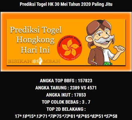 Prediksi HK Malam Ini 30 Mei 2020 - Bisikan Mbah