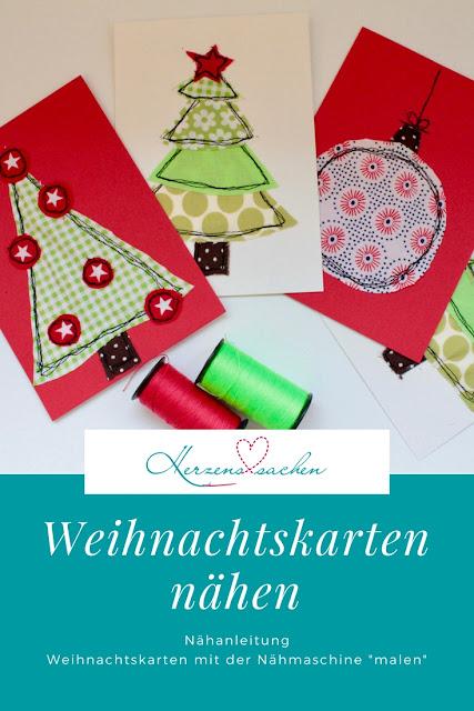 Weihnachtskarten Blanko.Herzenssachen Weihnachtskarten Nähen