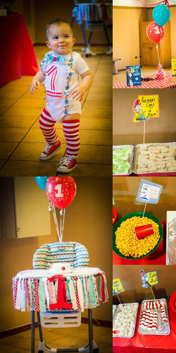 Green Eggs and Ham character themed 1st birthday party.