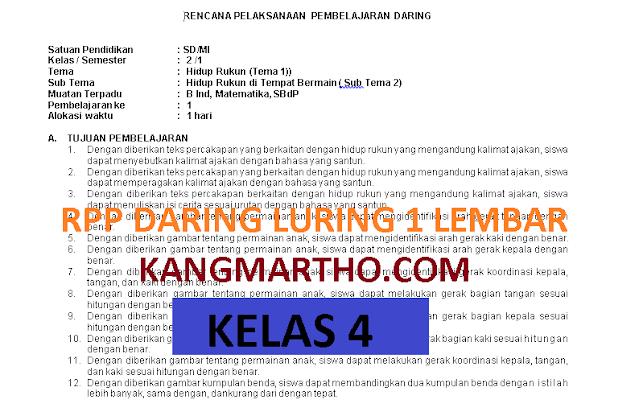 RPP DARING LURING KELAS 4 1 LEMBAR SEMESTER 1 DAN 2
