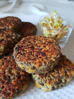 steacks végétariens aux lentilles sans gluten au tofu soyeux et farine de lupin