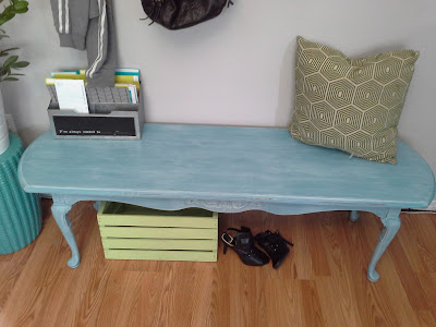 queen anne coffee table turned bench turquoise