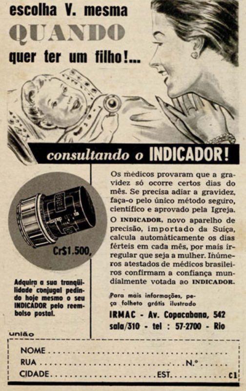 Propaganda antiga de um aparelho para controle do fluxo menstrual da mulher em 1959