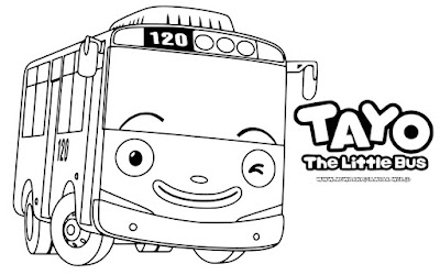 gambar tayo the little bus untuk mewarnai