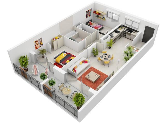 Denah Rumah Minimalis 2 Kamar Tidur Ukuran 6x9