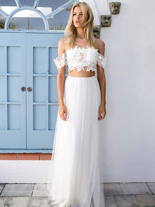 two piece unique wedding dresses