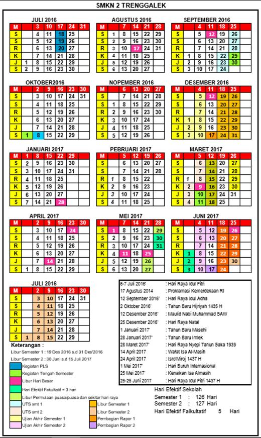 Kalender Pendidikan Smk Tahun Pelajaran 2016 2017