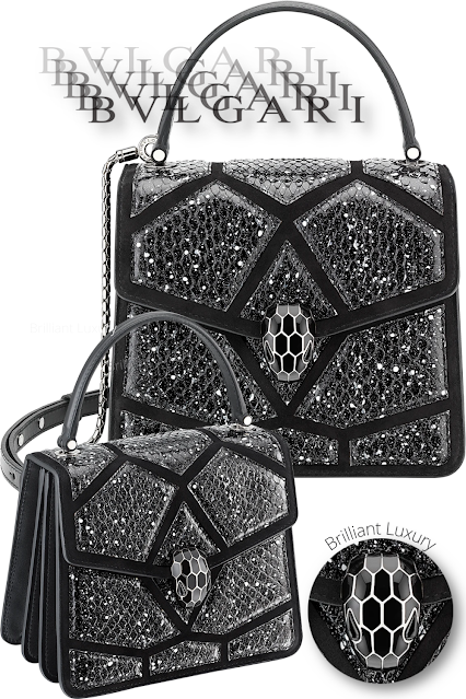 Bvlgari Serpenti Forever crossbody bag in black and white stardust cosmic python skin and black calf leather #brilliantluxury