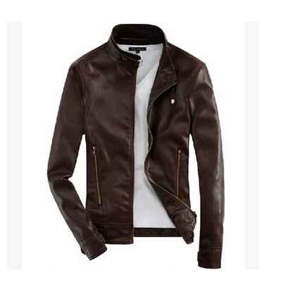 jaket kulit casual untuk pria warna coklat