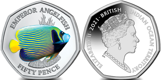 British Indian Ocean Territory 50 pence 2021 - Emperor Angelfish