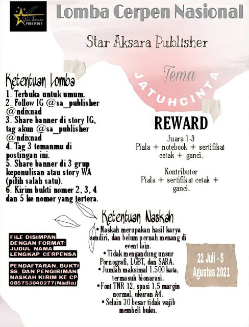 Lomba Menulis Cerpen Tema Jatuh Cinta oleh Star Aksara Publisher