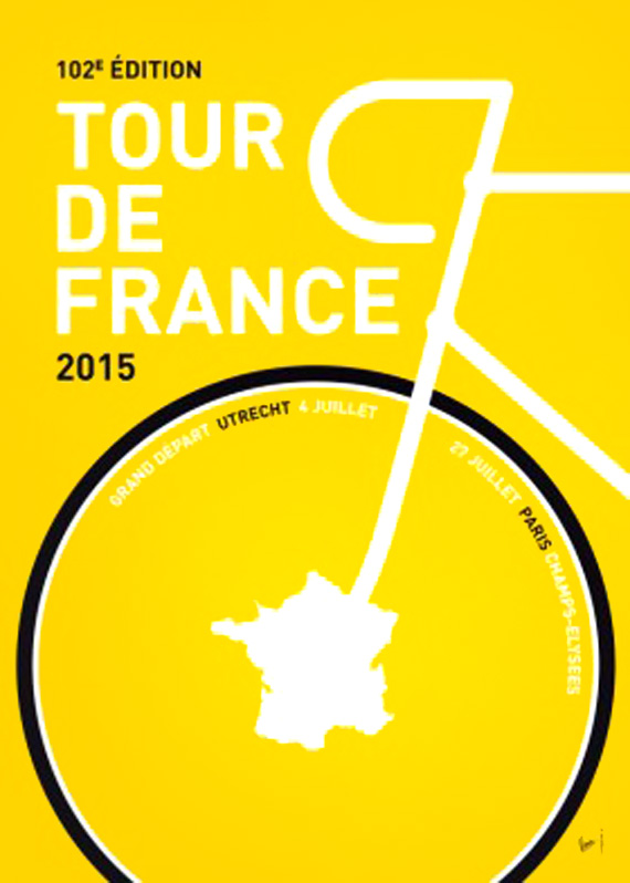 tour de france 2015 poster, graphic design in yellow