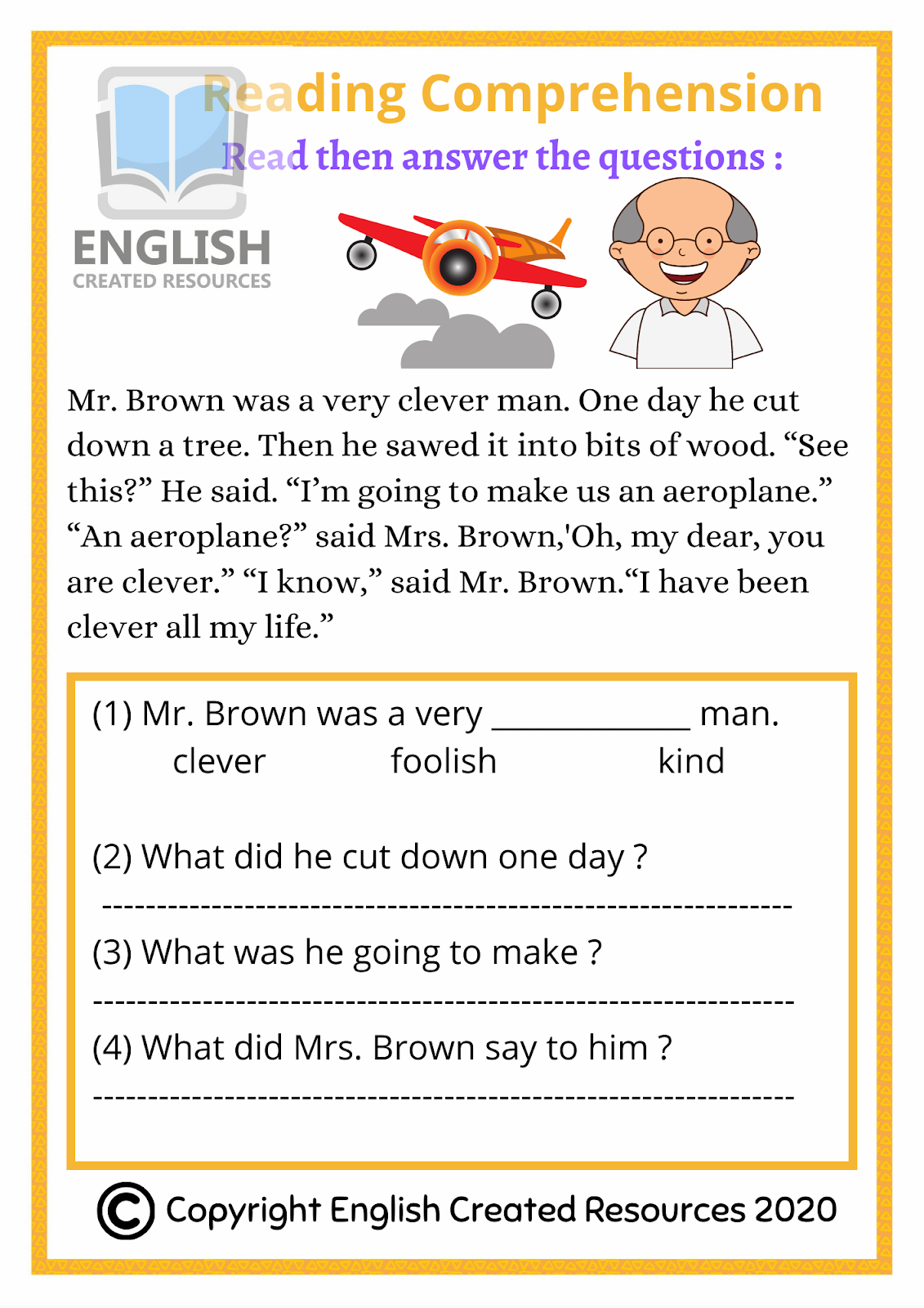 hight resolution of Reading Comprehension Grade 1