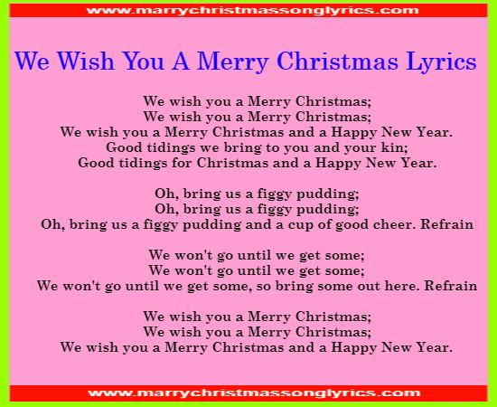 We Wish You A Merry Christmas Song Lyrics Image