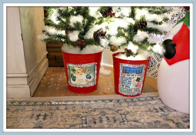Vintage- Inspired- Cottage -Farmhouse- Christmas- Mantel-DIY-Embellished-Vintage-Christmas-Images-From My Front Porch To Yours