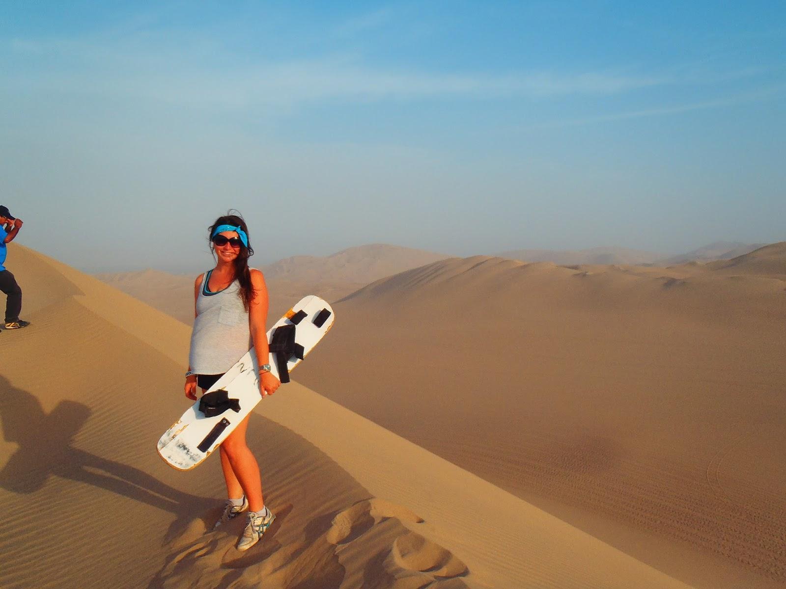 Simone sandboarding Huacachina