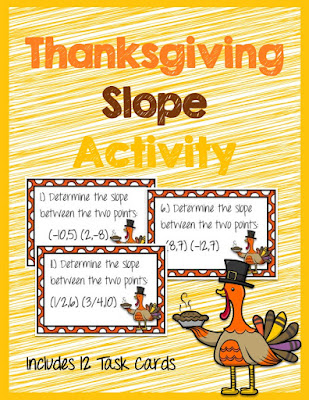 Thanksgiving Slope Activity Task Cards