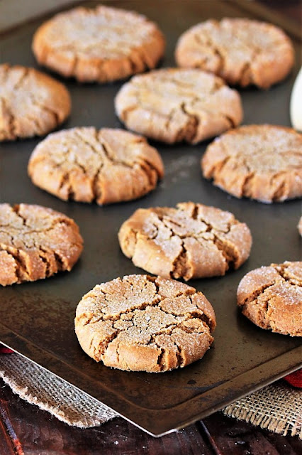 Molasses Crinkles Cookies on Baking Sheet Image