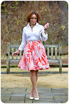 White Button Down Shirt with Floral Skirt