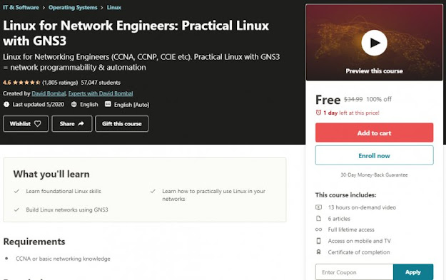 [100% Off] Linux for Network Engineers: Practical Linux with GNS3| Worth 34,99$