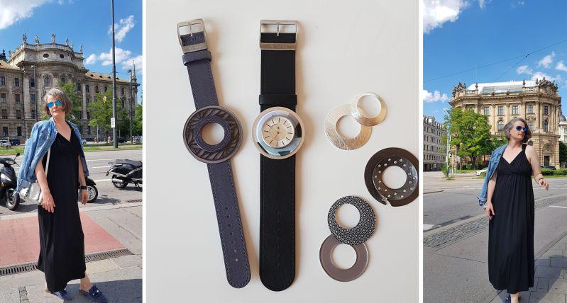 Im schwarzen Maxikleid mit neuer Uhr