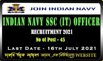 Indian Navy SSC Officer Recruitment (IT) 2021